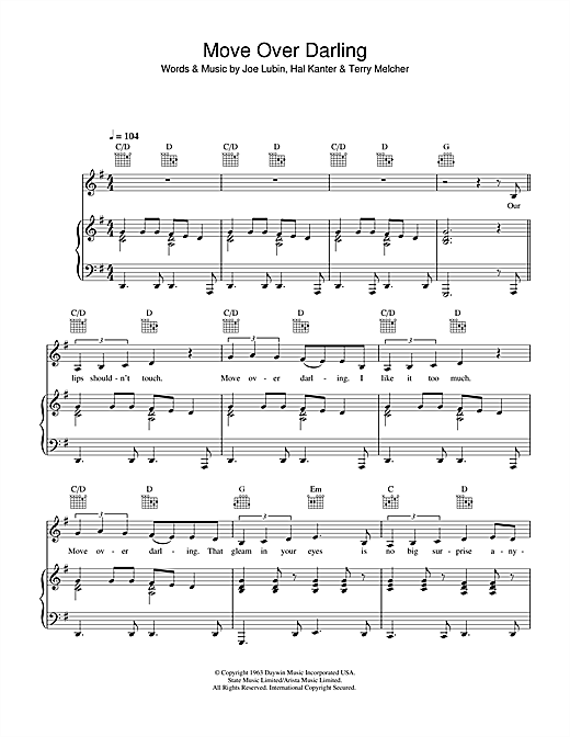 Doris Day Move Over Darling sheet music notes and chords. Download Printable PDF.