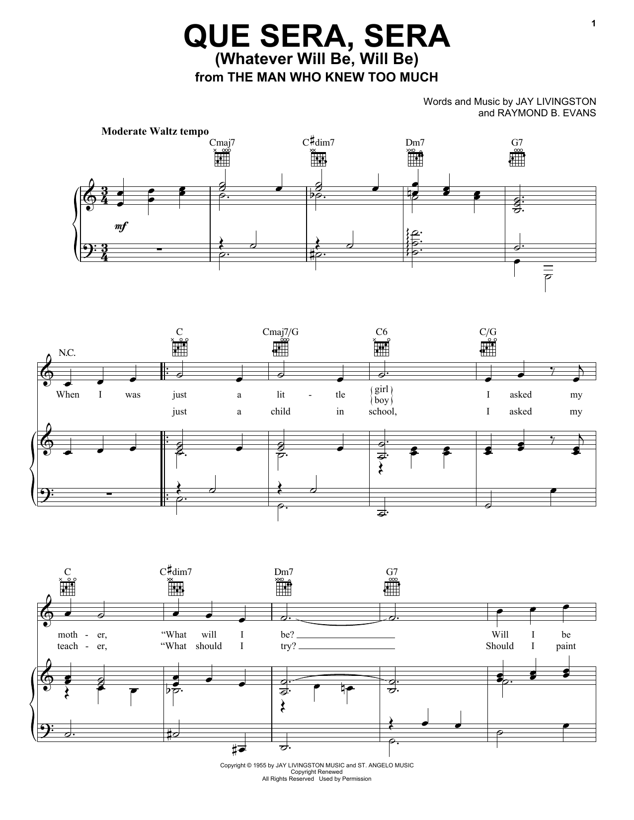 Doris Day Que Sera, Sera (Whatever Will Be, Will Be) sheet music notes and chords. Download Printable PDF.
