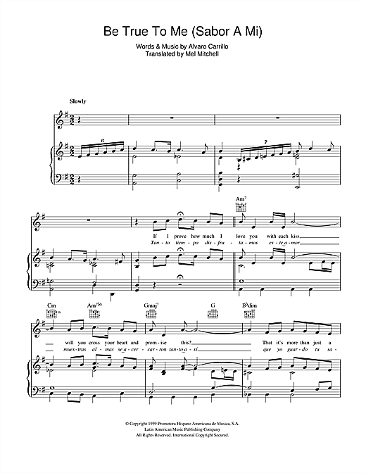 Doris Day Sabor A Mi (Be True To Me) sheet music notes and chords. Download Printable PDF.