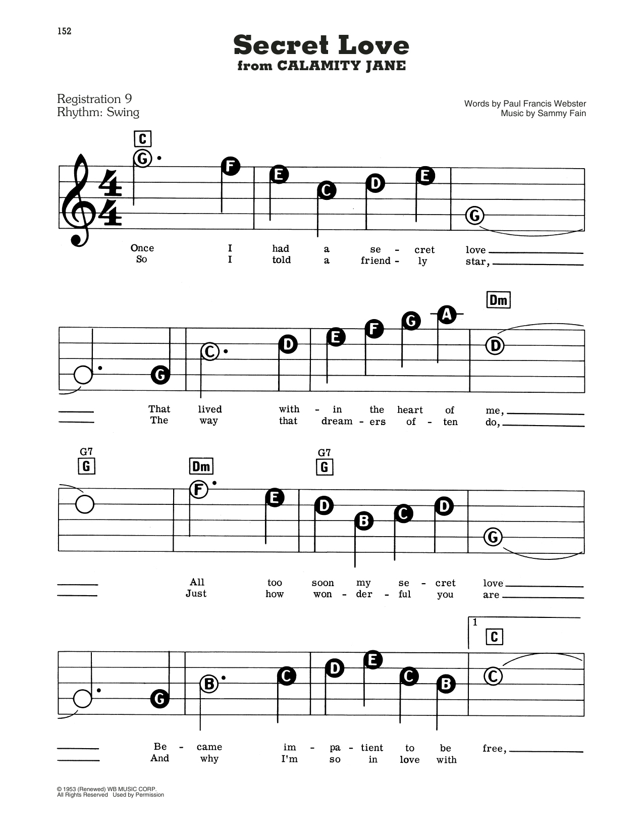 Doris Day Secret Love (from Calamity Jane) sheet music notes and chords. Download Printable PDF.
