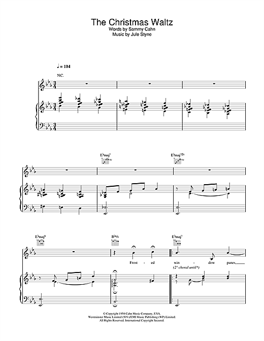 Doris Day The Christmas Waltz sheet music notes and chords. Download Printable PDF.