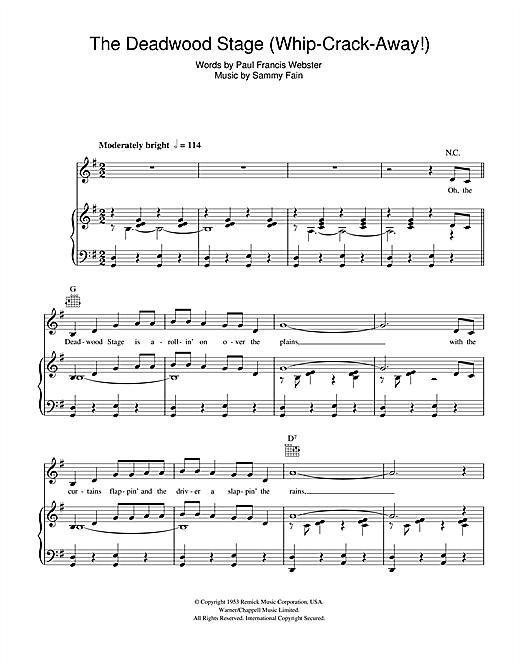 Doris Day The Deadwood Stage (Whip-Crack-Away) sheet music notes and chords. Download Printable PDF.