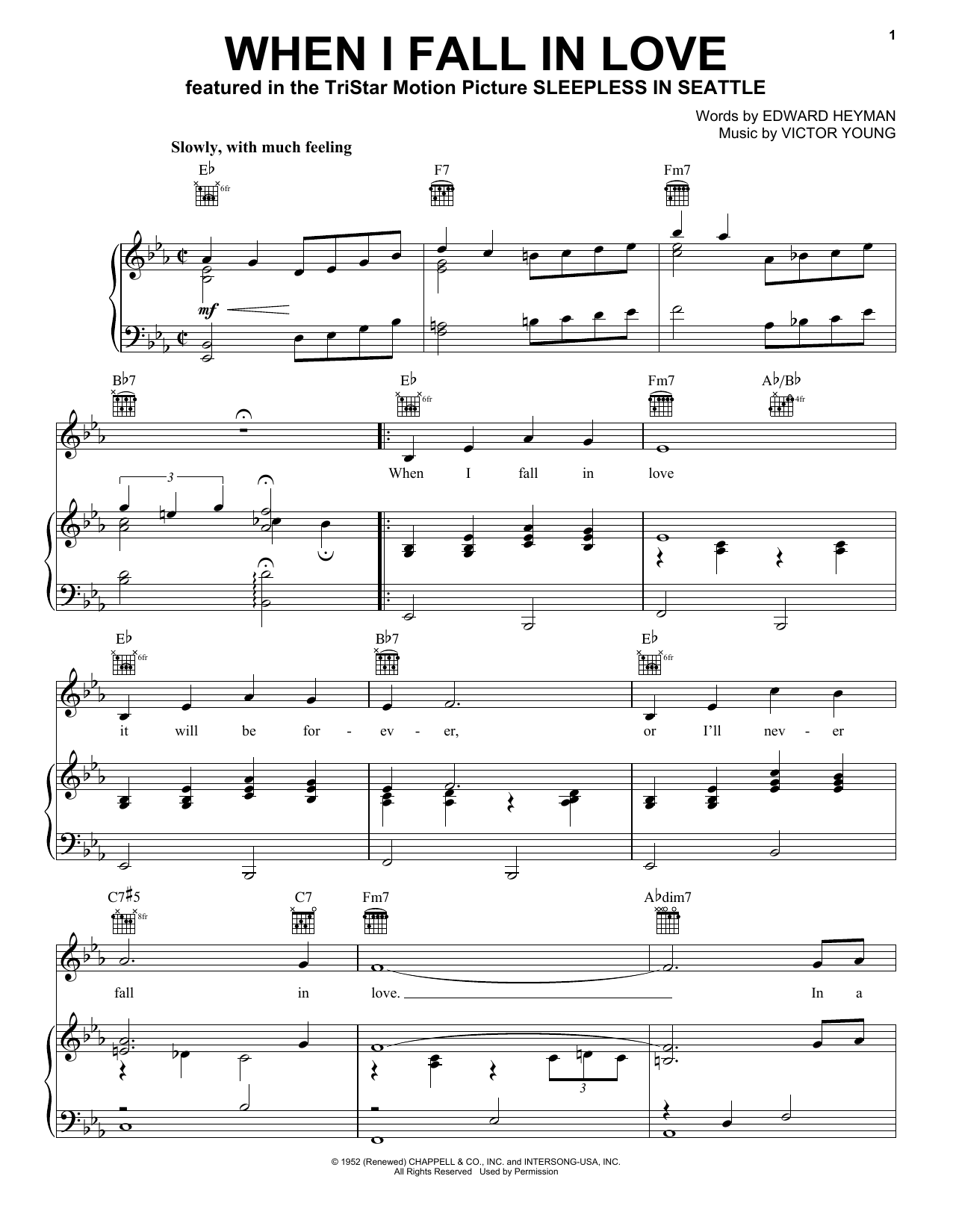 Doris Day When I Fall In Love sheet music notes and chords. Download Printable PDF.