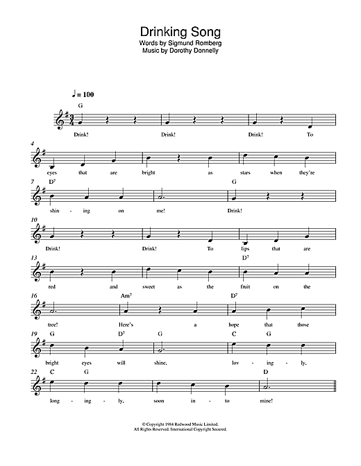 Dorothy Donnelly Drinking Song sheet music notes and chords. Download Printable PDF.