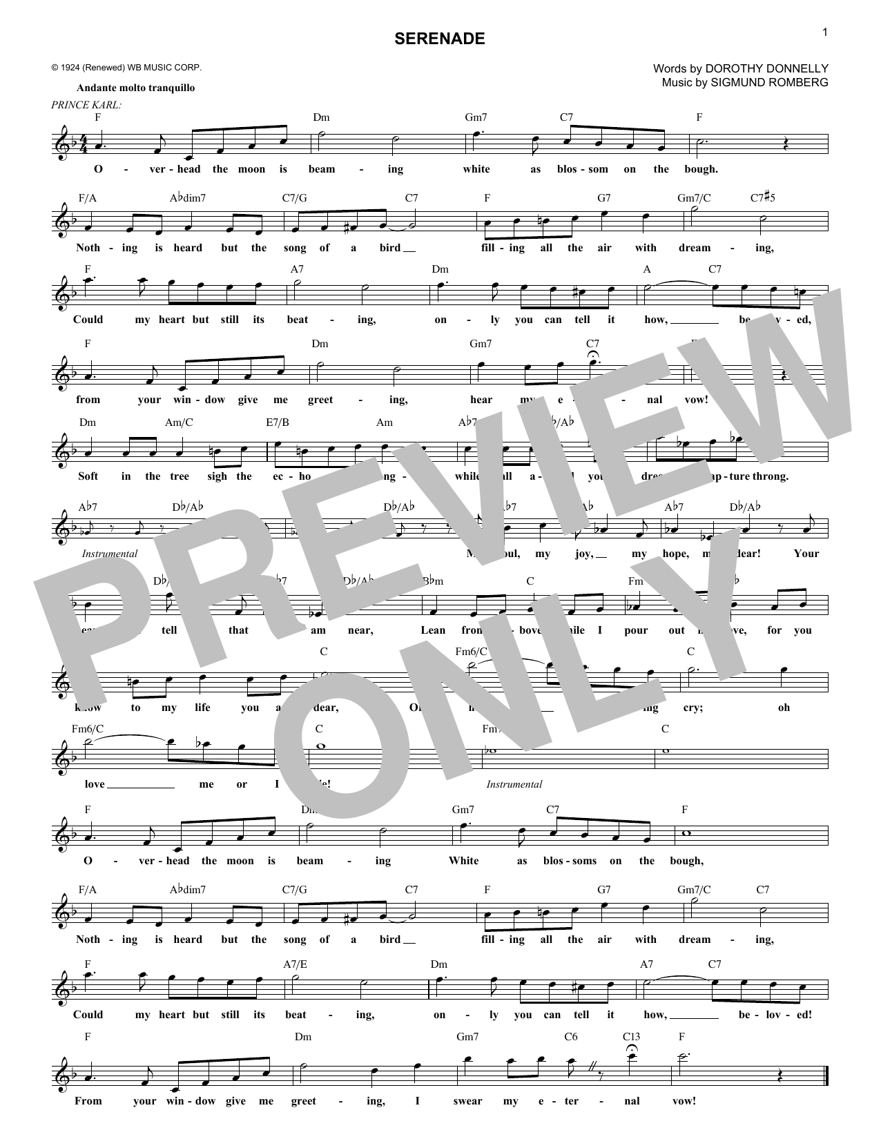 Dorothy Donnelly Serenade (from The Student Prince) sheet music notes and chords