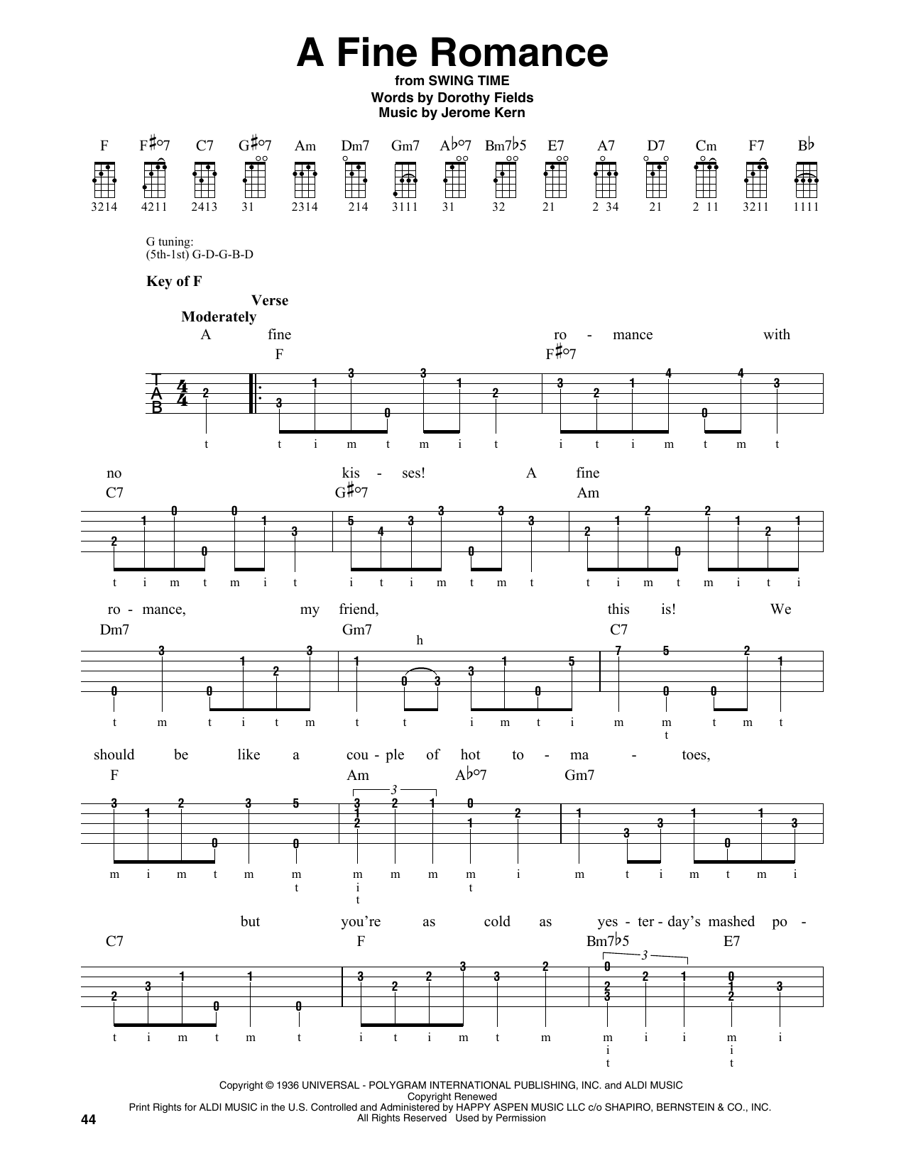 Dorothy Fields A Fine Romance sheet music notes and chords. Download Printable PDF.