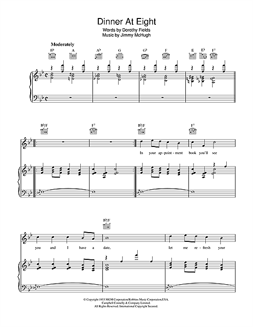 Dorothy Fields Dinner At Eight sheet music notes and chords. Download Printable PDF.