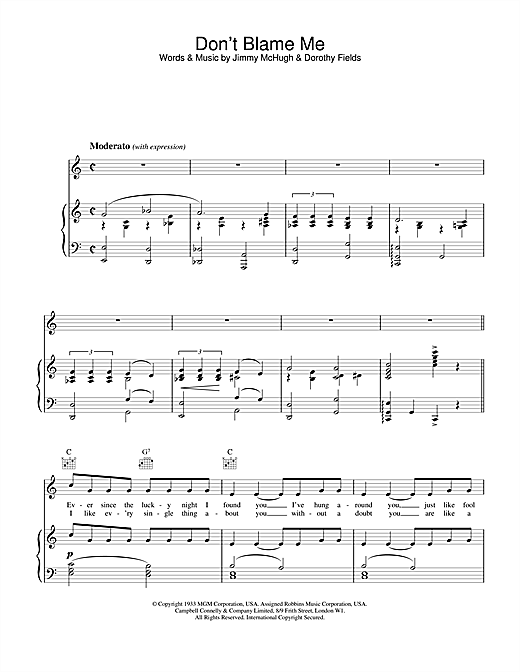 Dorothy Fields Don't Blame Me sheet music notes and chords. Download Printable PDF.