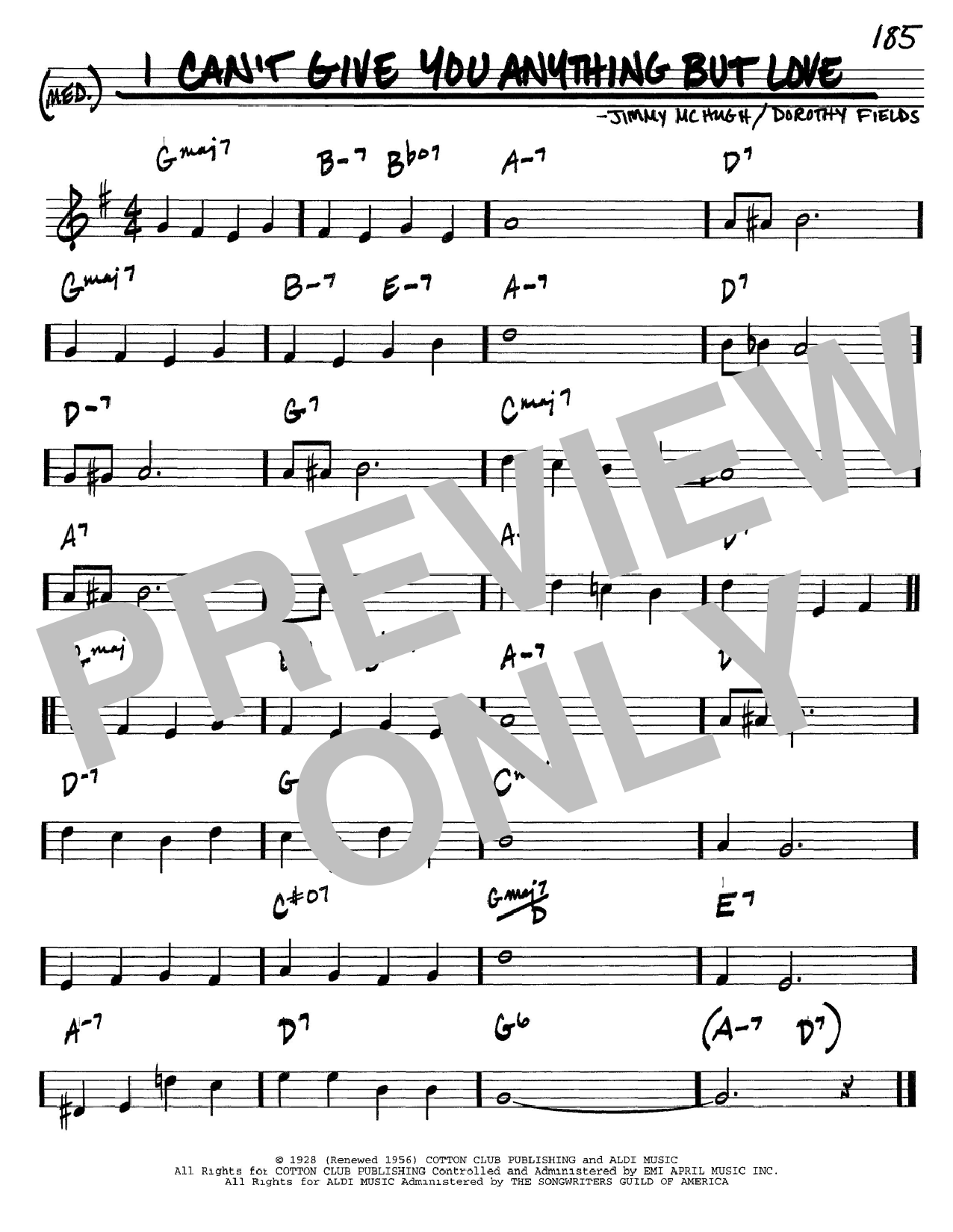Dorothy Fields I Can't Give You Anything But Love sheet music notes and chords. Download Printable PDF.
