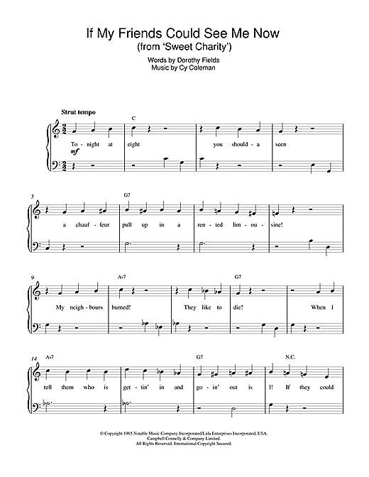 Dorothy Fields If My Friends Could See Me Now (from Sweet Charity) sheet music notes and chords