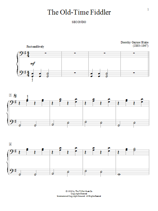 Dorothy Gaynor Blake The Old-Time Fiddler sheet music notes and chords. Download Printable PDF.