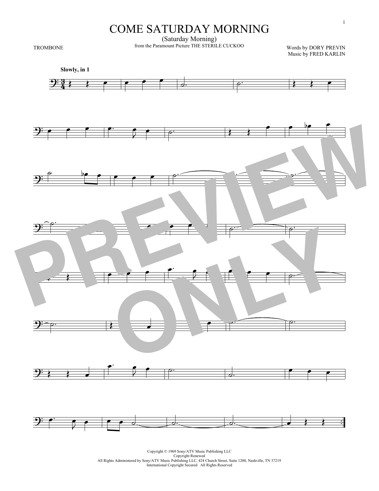 Dory Previn Come Saturday Morning (Saturday Morning) sheet music notes and chords. Download Printable PDF.