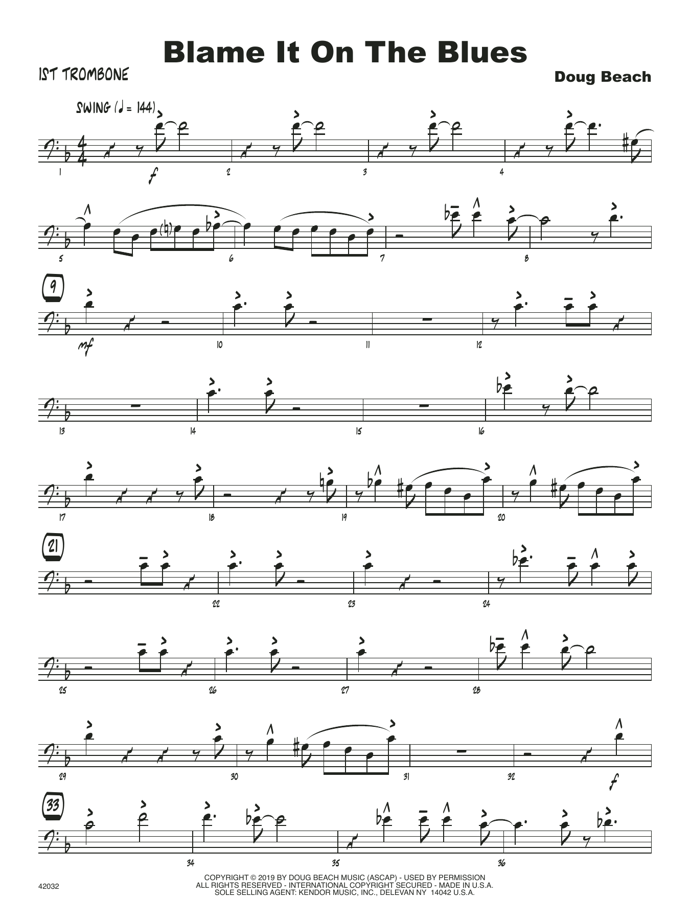 Doug Beach Blame It On The Blues - 1st Trombone sheet music notes and chords. Download Printable PDF.