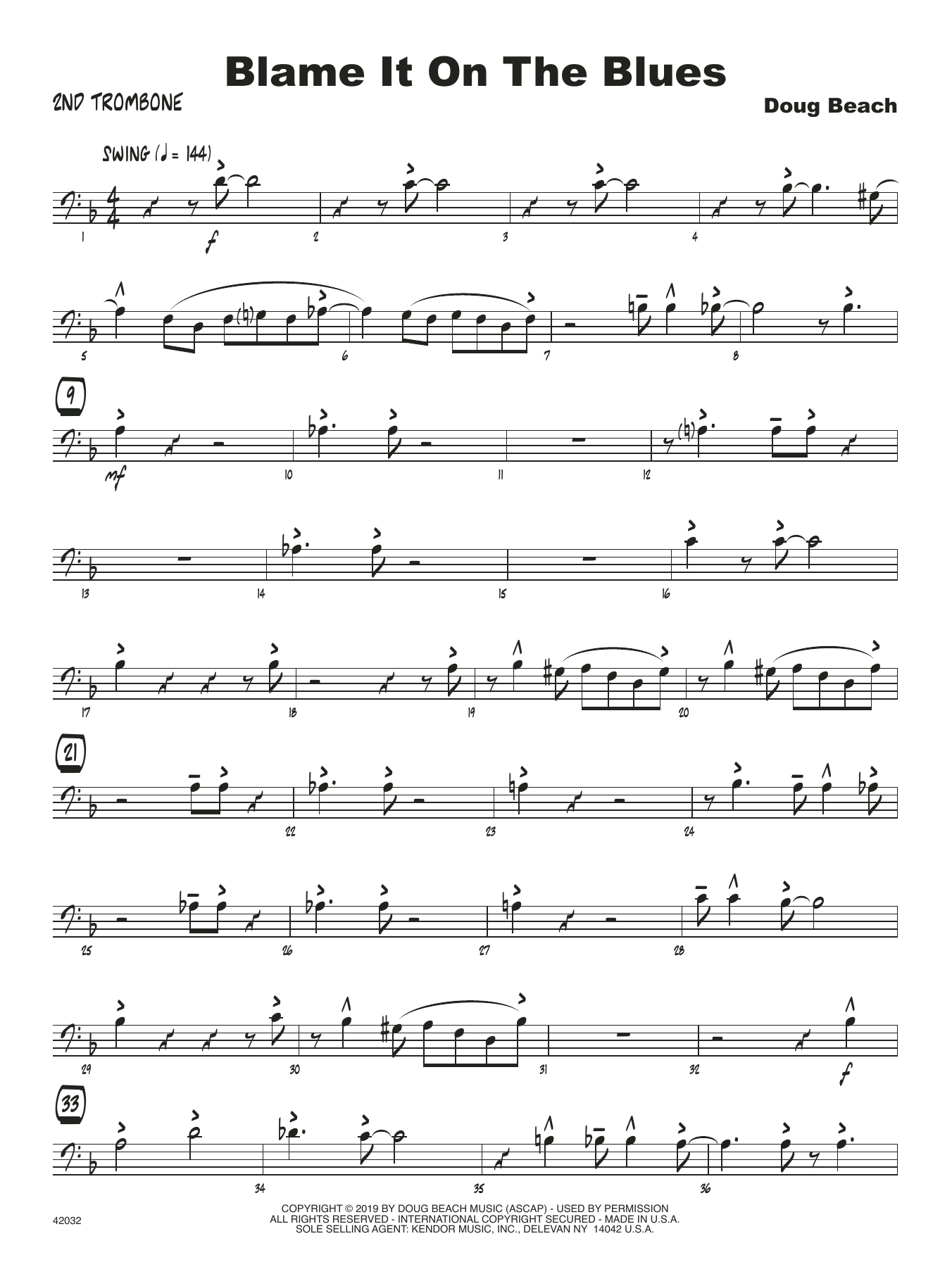 Doug Beach Blame It On The Blues - 2nd Trombone sheet music notes and chords. Download Printable PDF.
