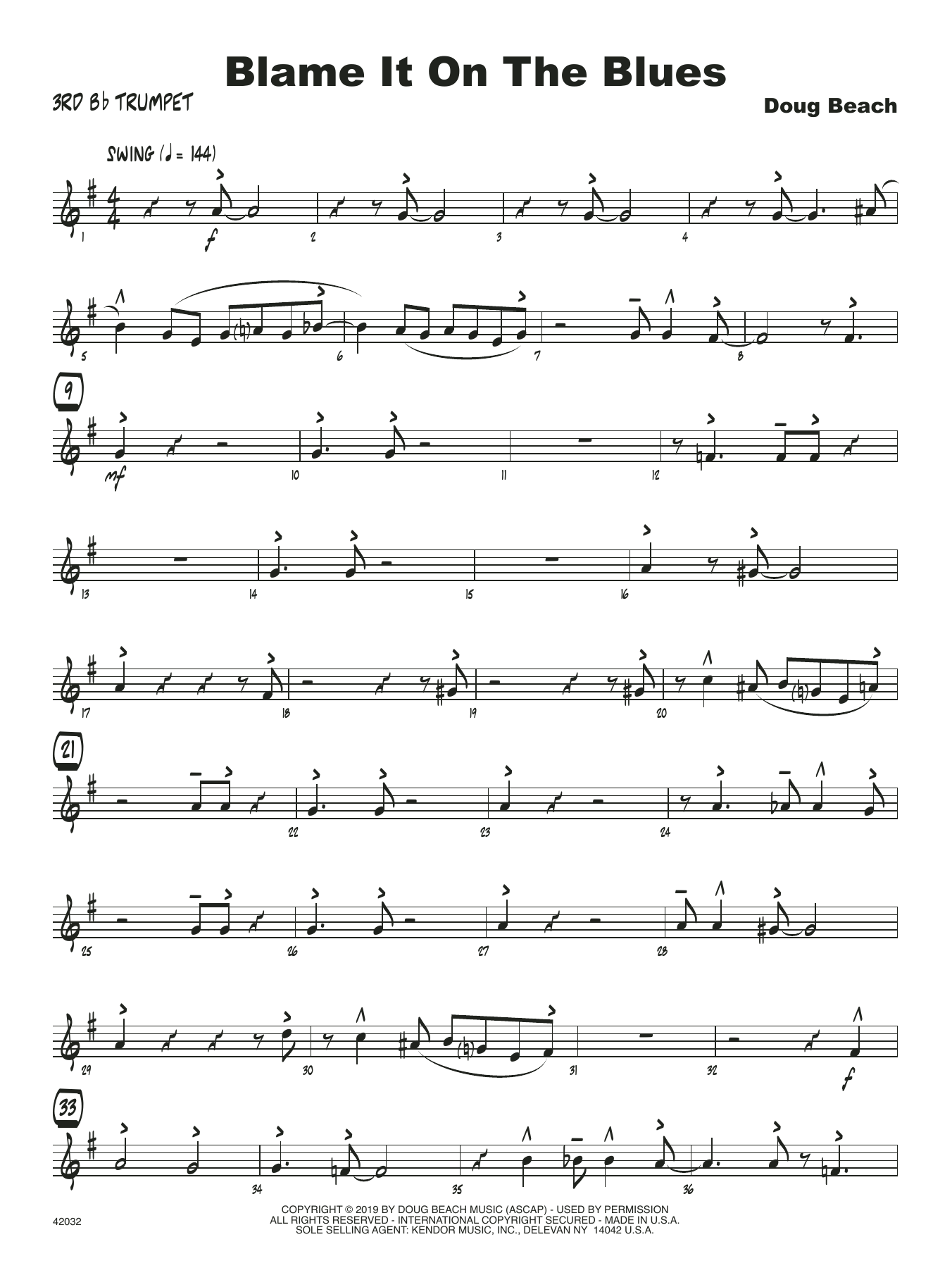 Doug Beach Blame It On The Blues - 3rd Bb Trumpet sheet music notes and chords. Download Printable PDF.
