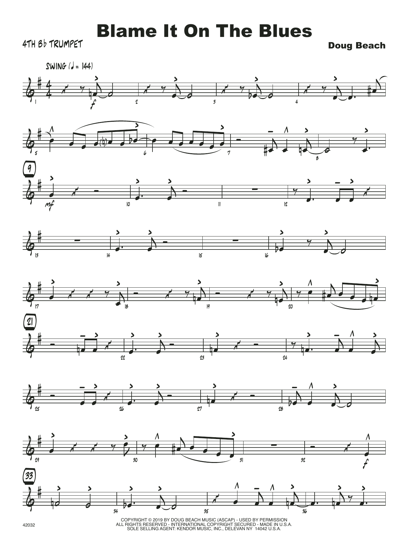 Doug Beach Blame It On The Blues - 4th Bb Trumpet sheet music notes and chords. Download Printable PDF.