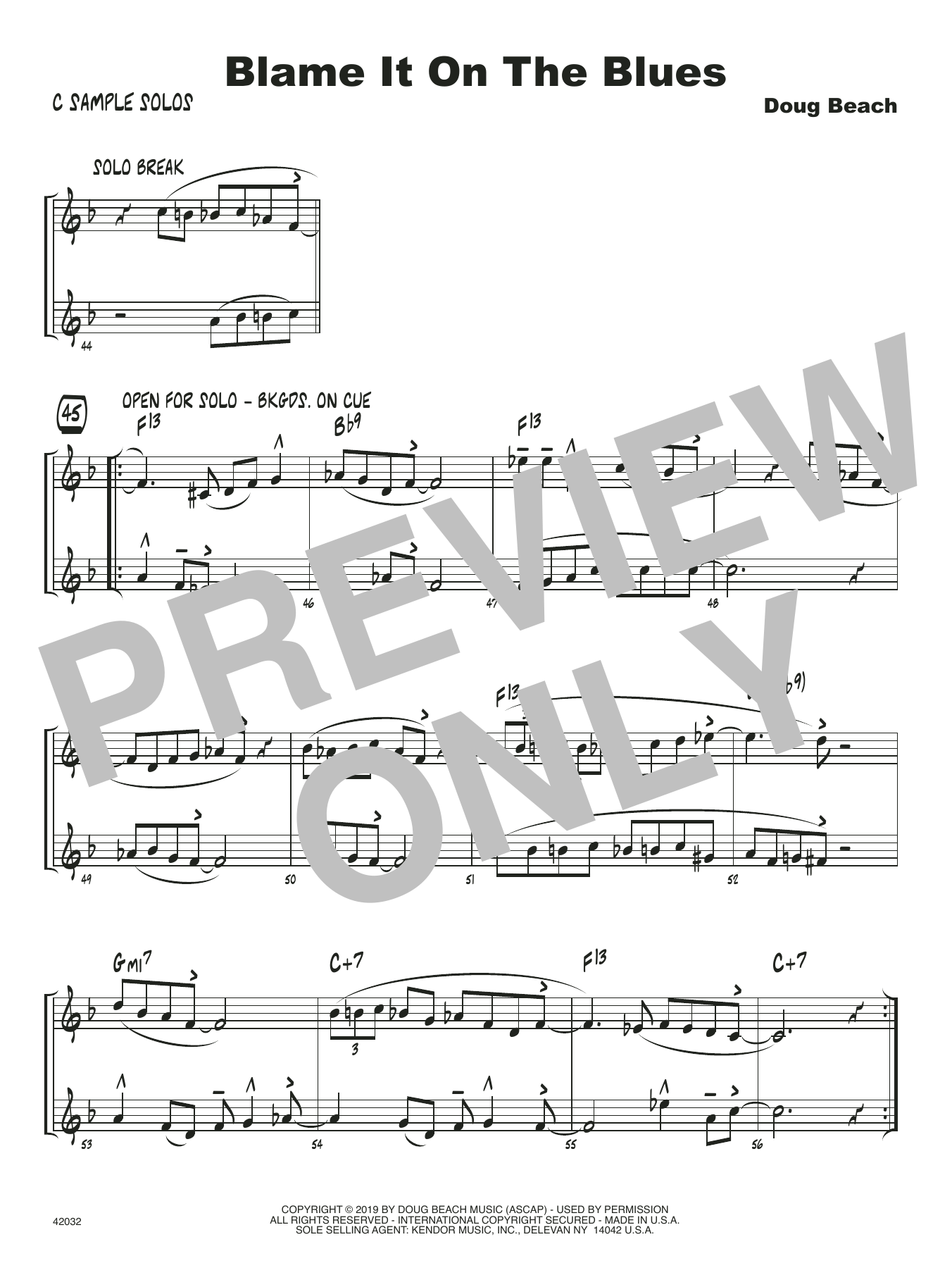 Doug Beach Blame It On The Blues - C Solo Sheet sheet music notes and chords. Download Printable PDF.