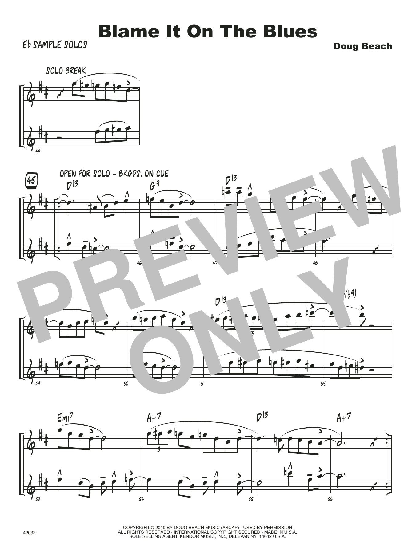 Doug Beach Blame It On The Blues - Eb Solo Sheet sheet music notes and chords. Download Printable PDF.