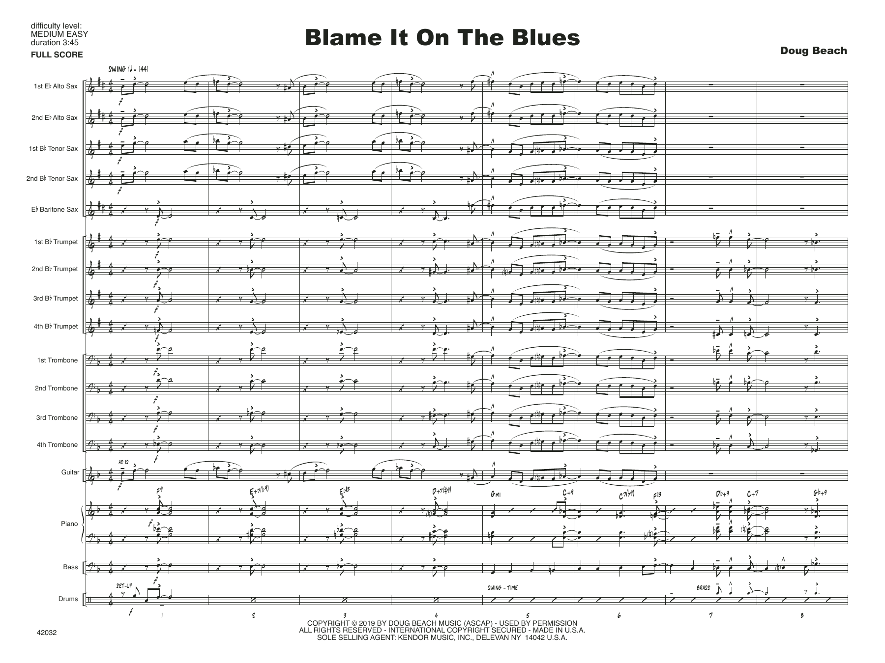 Doug Beach Blame It On The Blues - Full Score sheet music notes and chords. Download Printable PDF.