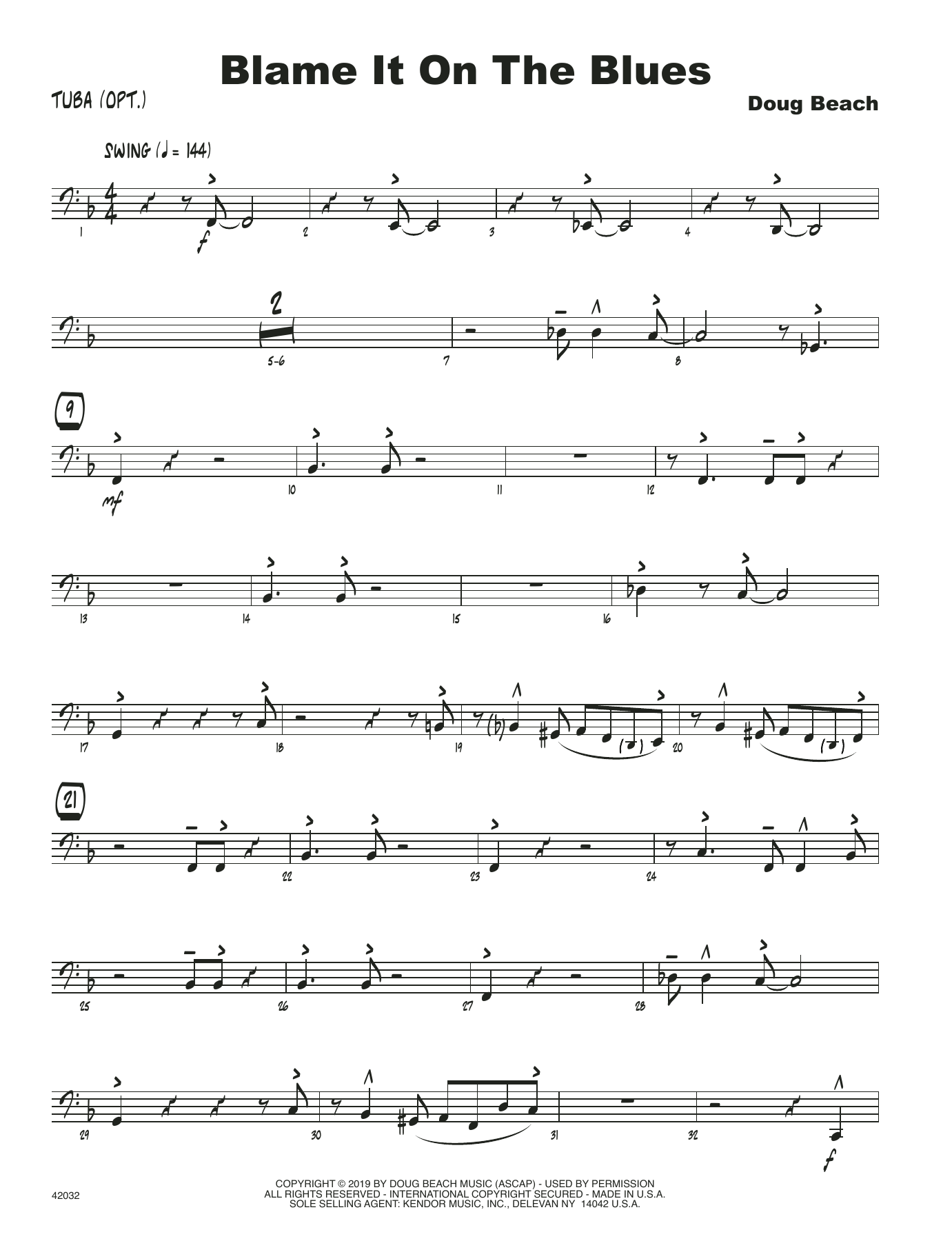 Doug Beach Blame It On The Blues - Tuba sheet music notes and chords. Download Printable PDF.