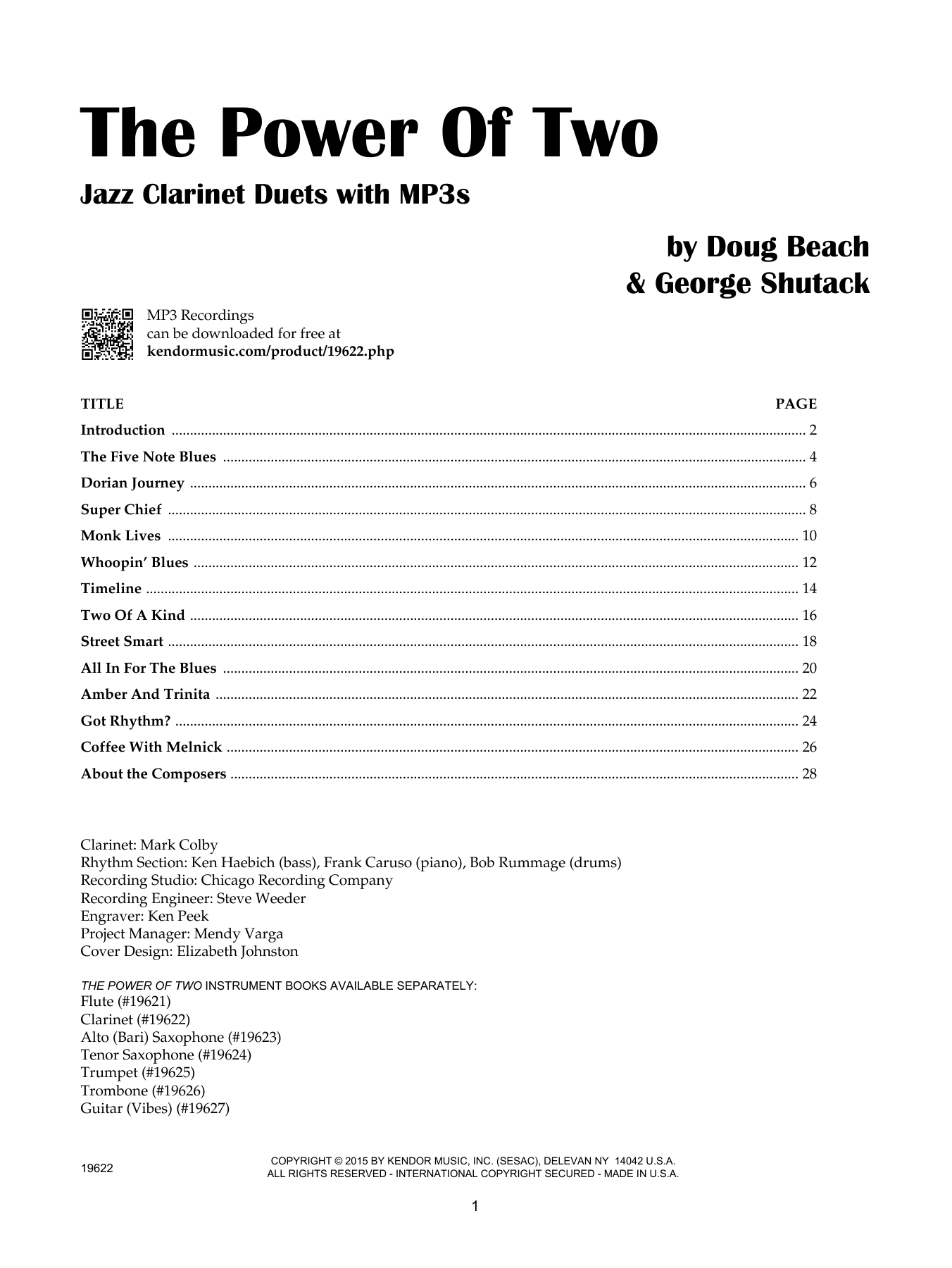 Doug Beach The Power Of Two - Clarinet sheet music notes and chords