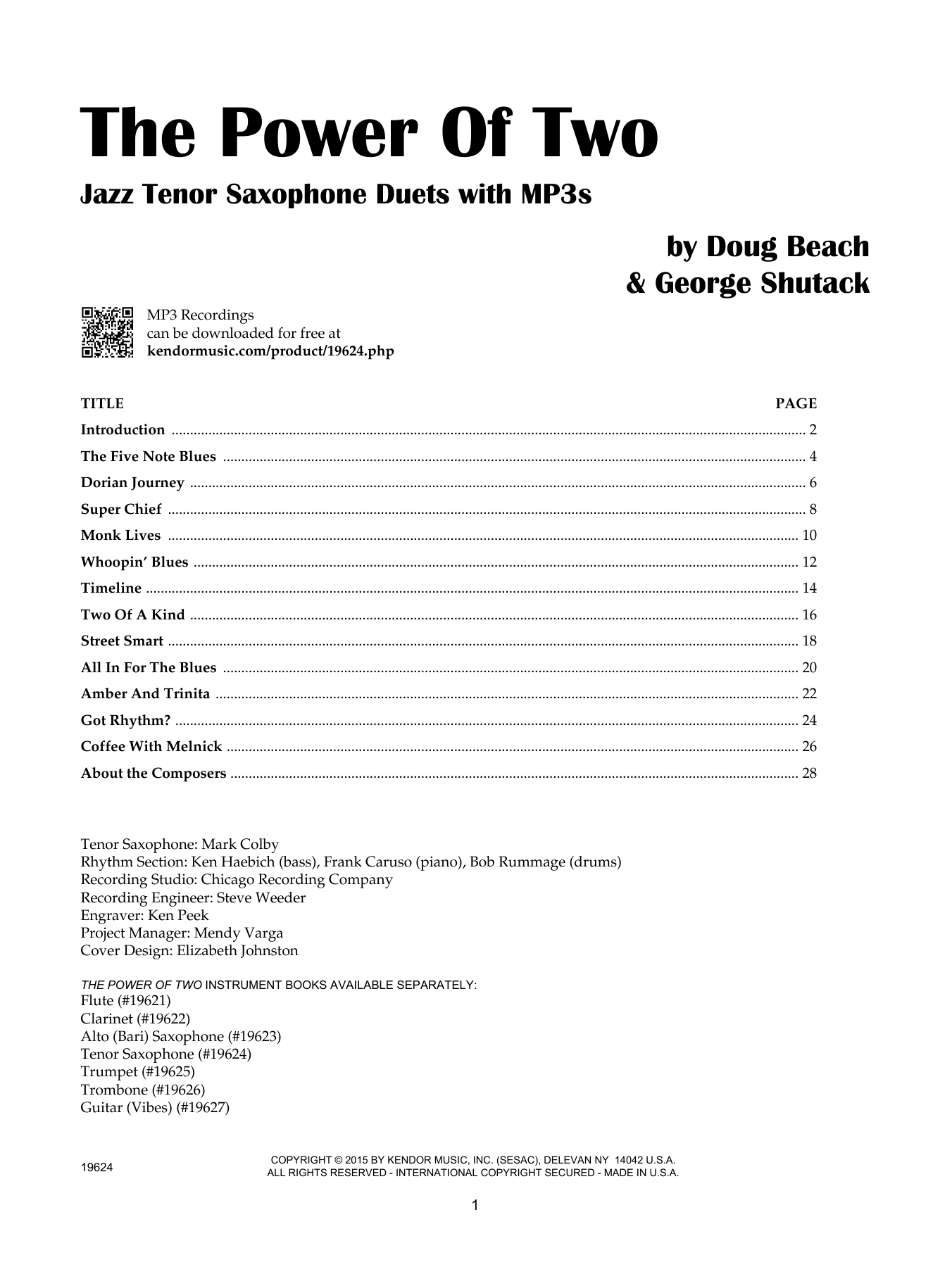 Doug Beach The Power Of Two - Tenor Saxophone sheet music notes and chords