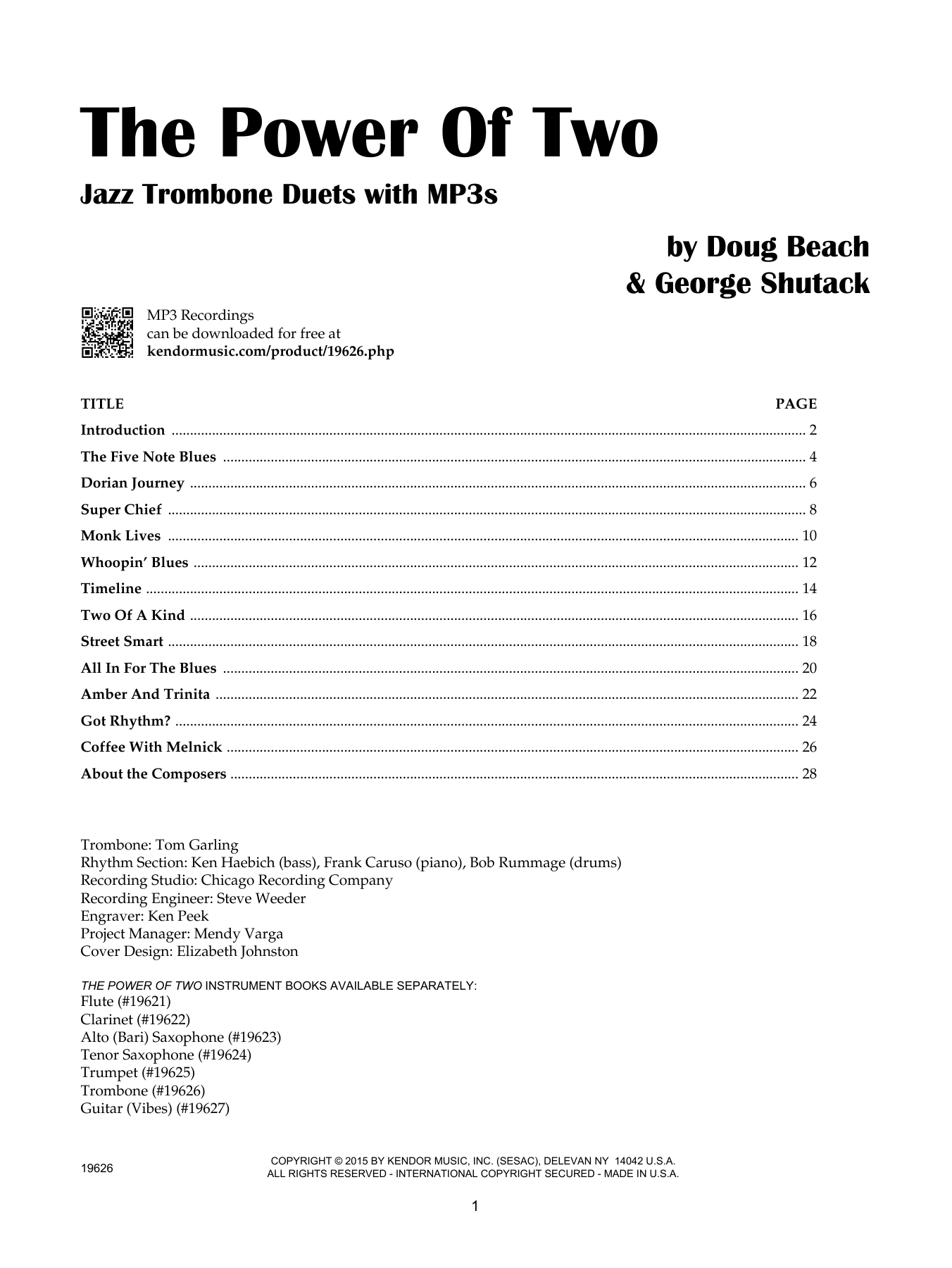 Doug Beach The Power Of Two - Trombone sheet music notes and chords