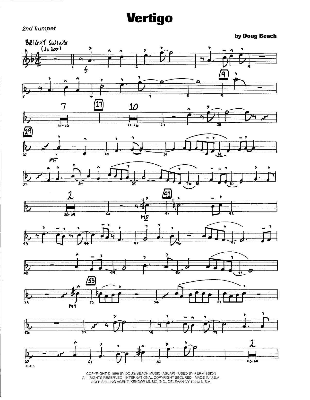 Doug Beach Vertigo - 2nd Bb Trumpet sheet music notes and chords. Download Printable PDF.