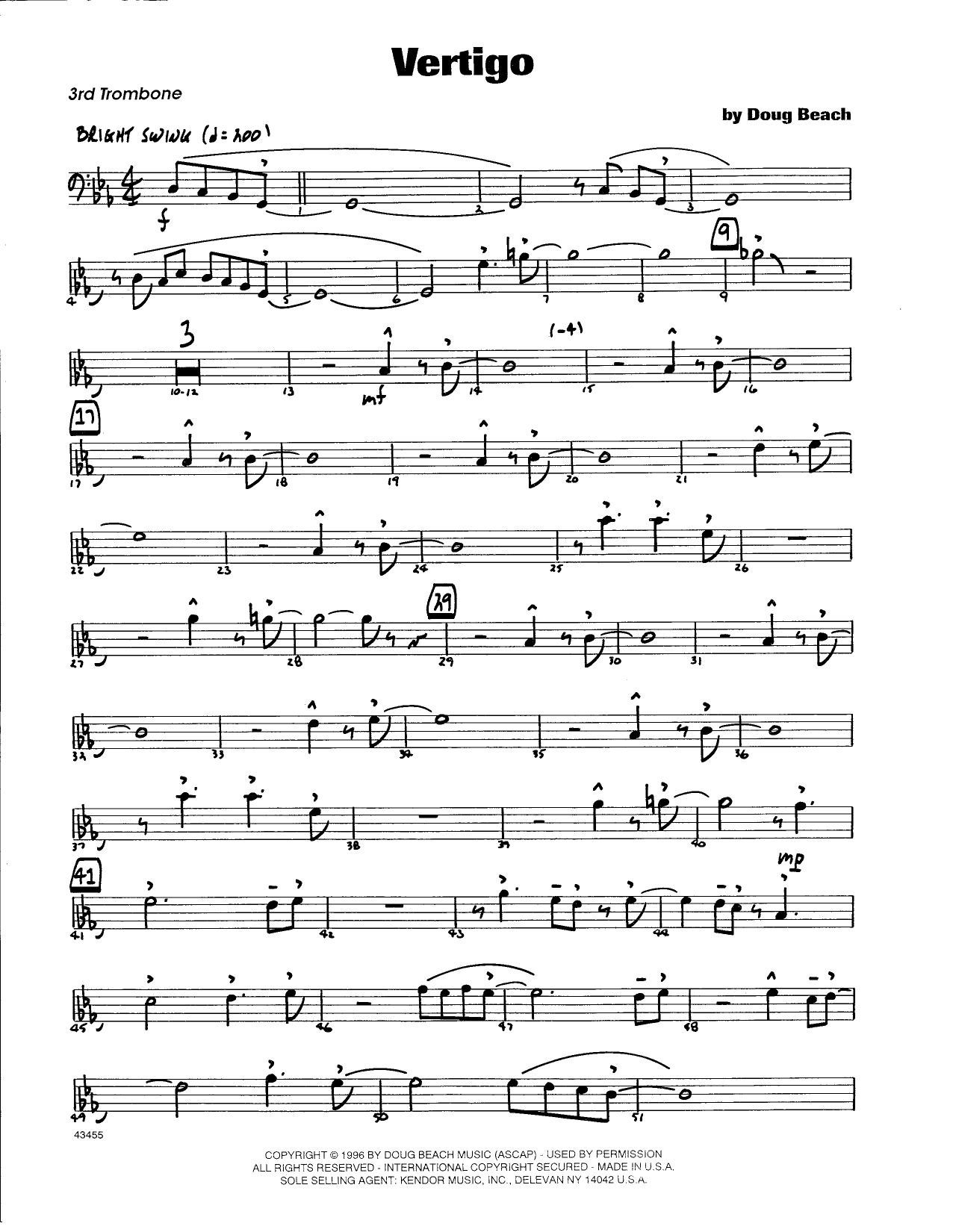 Doug Beach Vertigo - 3rd Trombone sheet music notes and chords. Download Printable PDF.