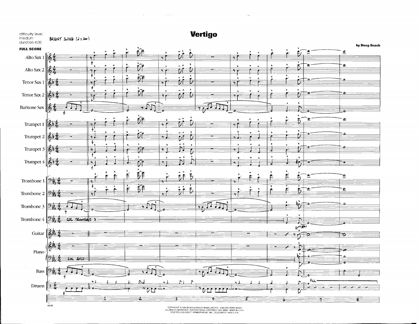 Doug Beach Vertigo - Full Score sheet music notes and chords. Download Printable PDF.