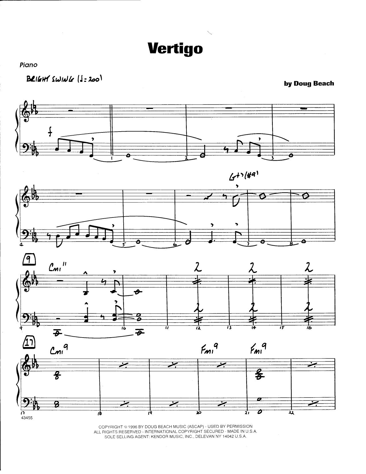 Doug Beach Vertigo - Guitar sheet music notes and chords. Download Printable PDF.