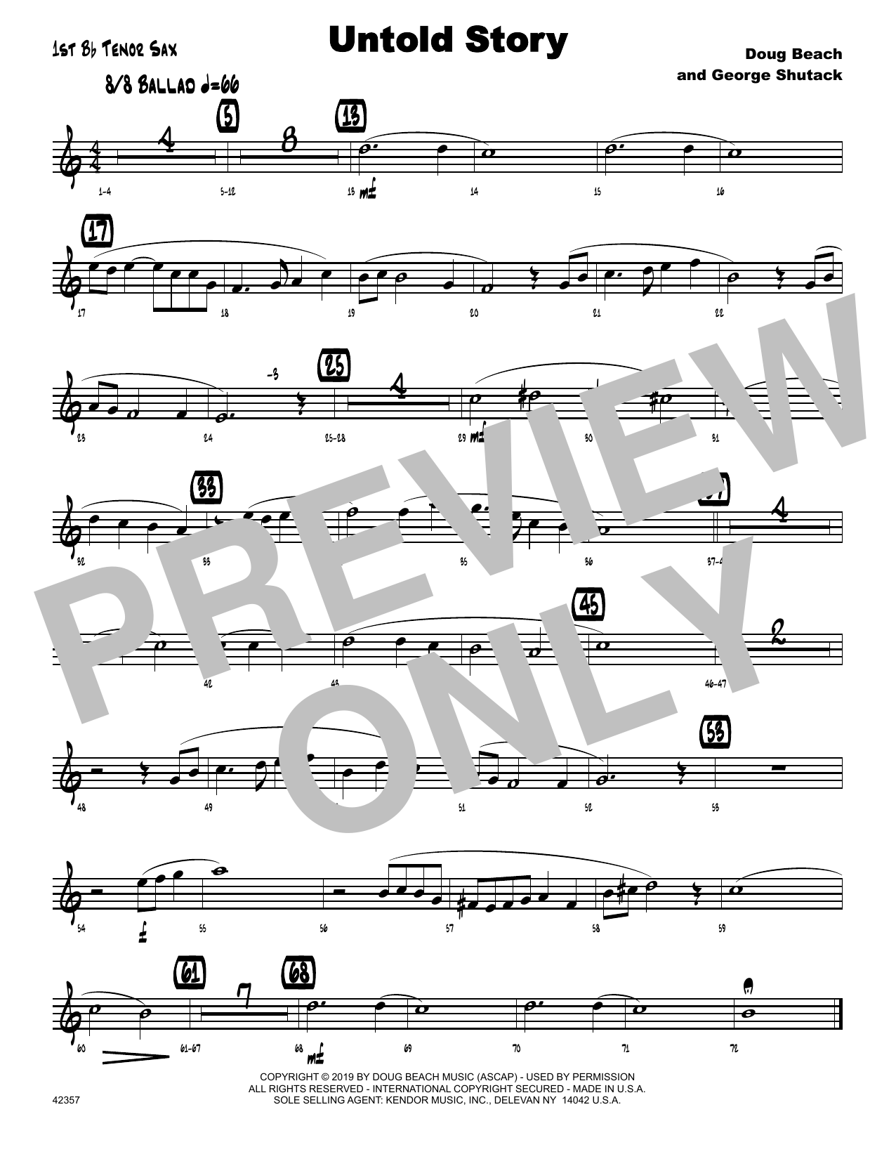 Doug Beach & George Shutack Untold Story - 1st Tenor Saxophone sheet music notes and chords. Download Printable PDF.