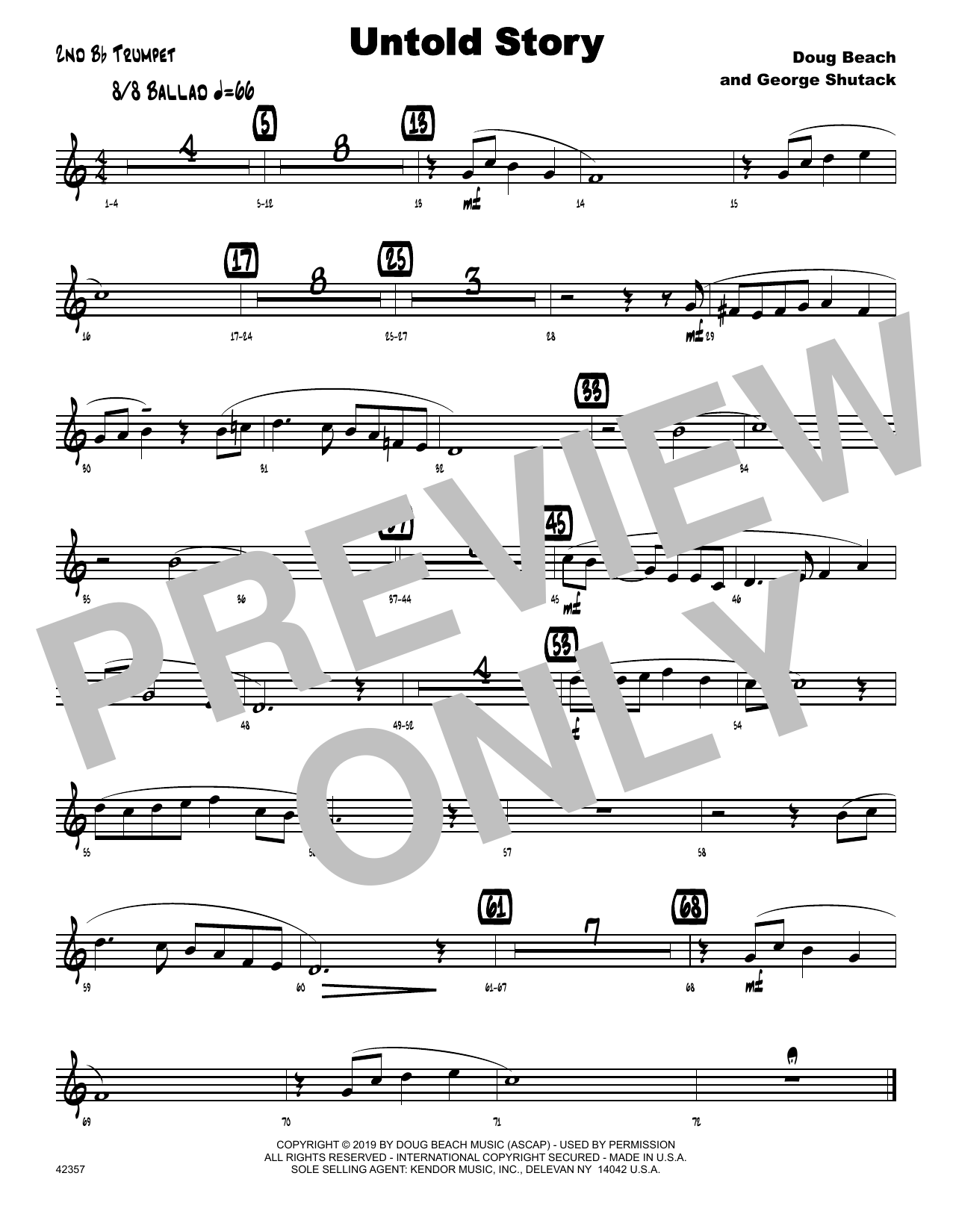 Doug Beach & George Shutack Untold Story - 2nd Bb Trumpet sheet music notes and chords. Download Printable PDF.
