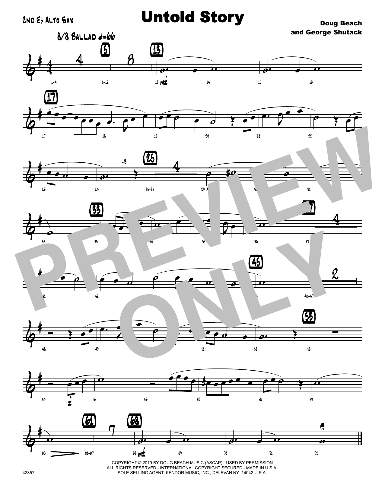Doug Beach & George Shutack Untold Story - 2nd Eb Alto Saxophone sheet music notes and chords. Download Printable PDF.