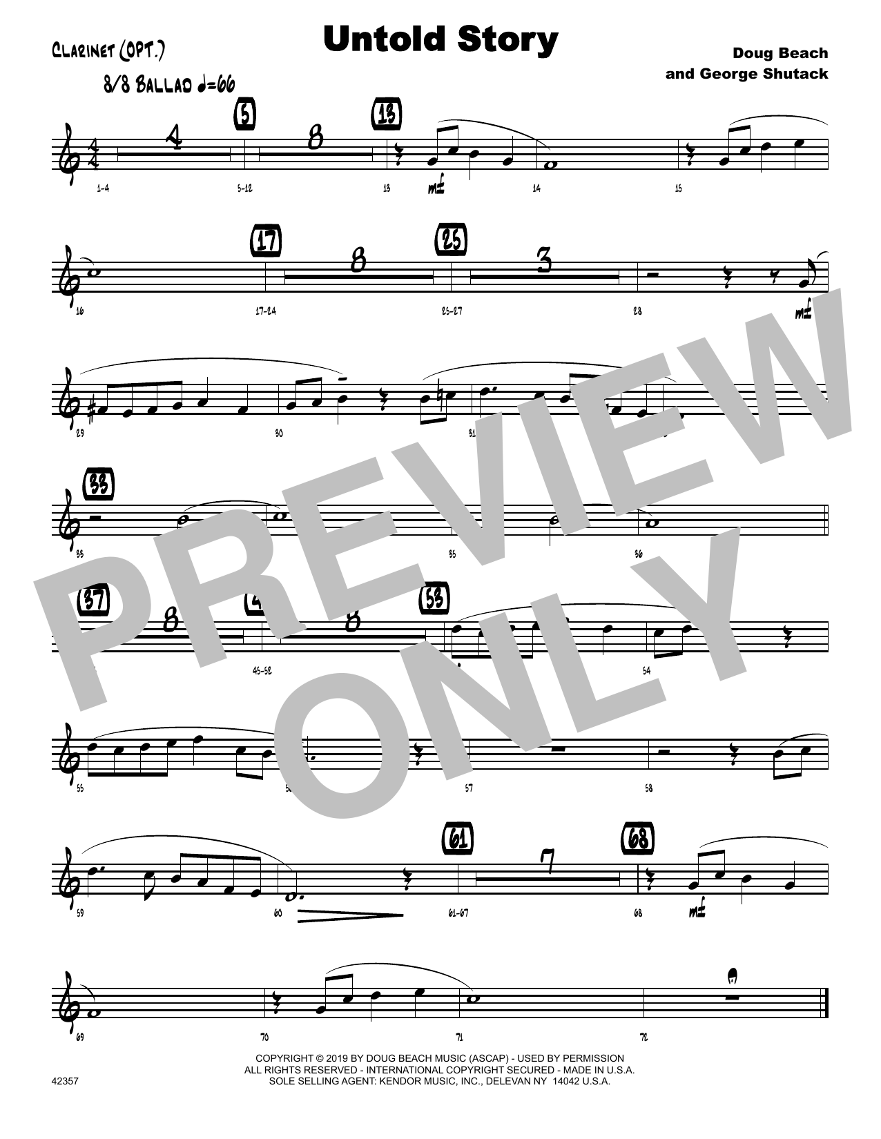 Doug Beach & George Shutack Untold Story - Bb Clarinet sheet music notes and chords. Download Printable PDF.