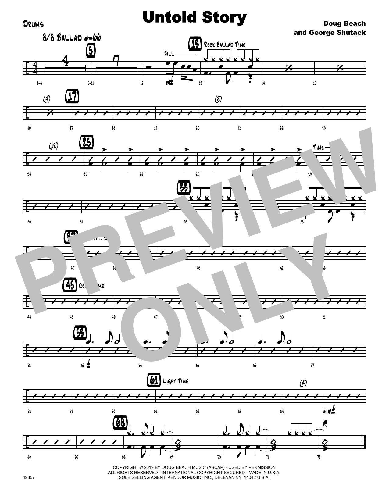 Doug Beach & George Shutack Untold Story - Drum Set sheet music notes and chords. Download Printable PDF.