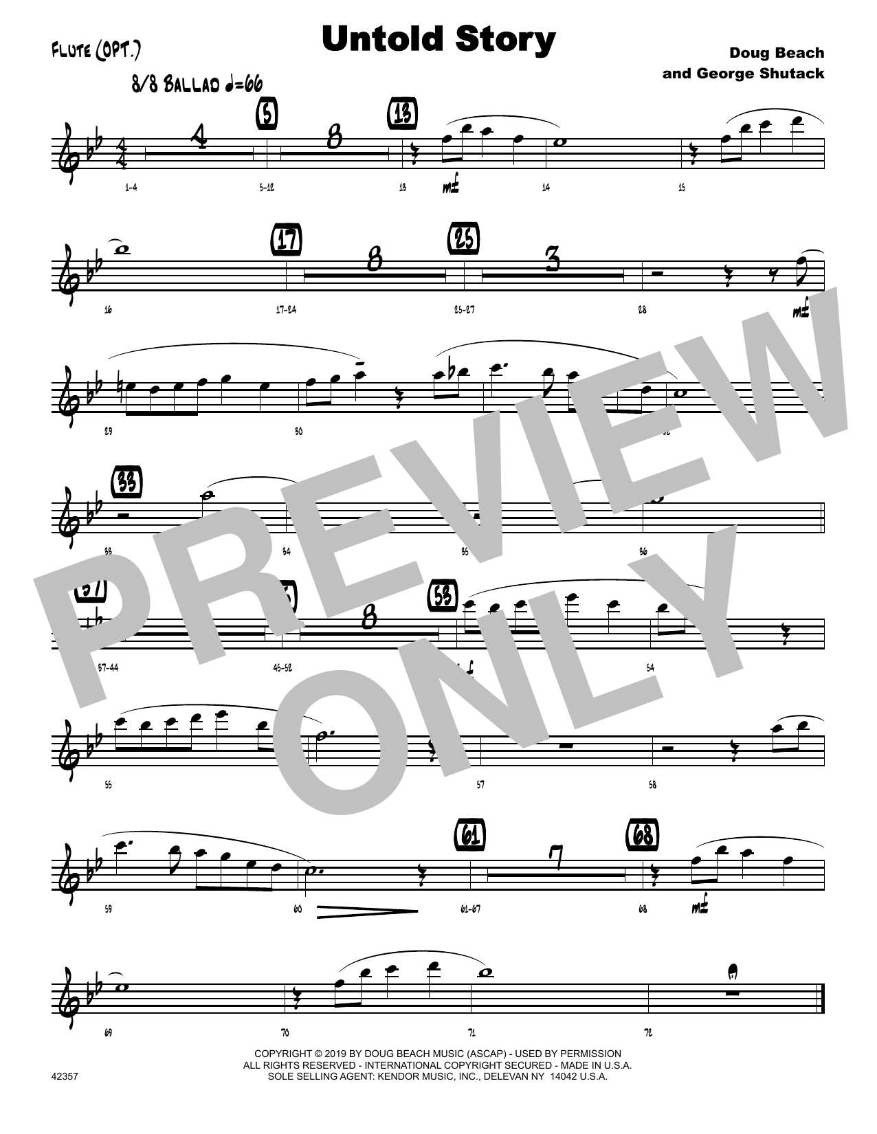 Doug Beach & George Shutack Untold Story - Flute sheet music notes and chords. Download Printable PDF.