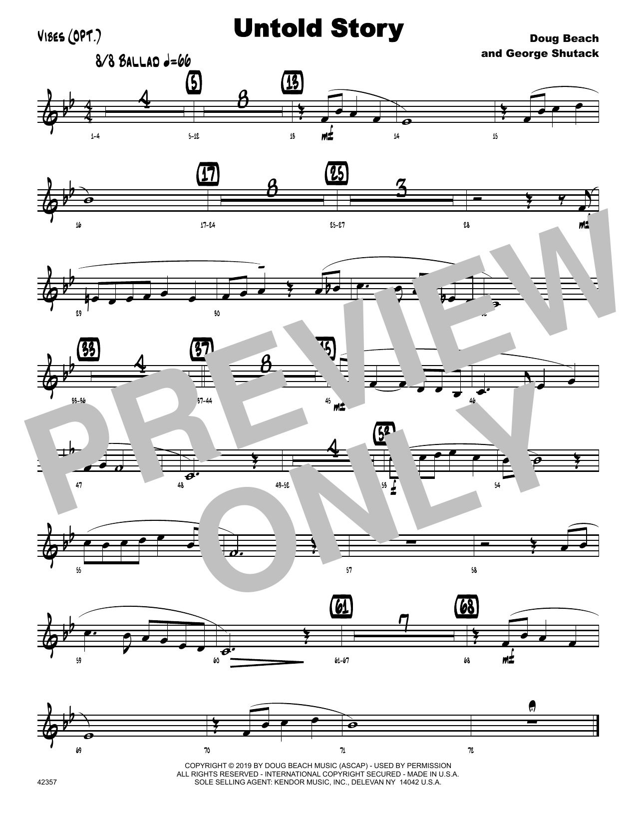 Doug Beach & George Shutack Untold Story - Vibes sheet music notes and chords. Download Printable PDF.