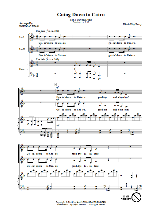 Douglas Beam Going Down To Cairo sheet music notes and chords. Download Printable PDF.