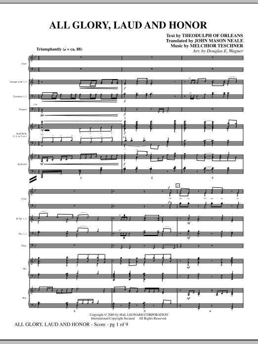 Douglas E. Wagner All Glory, Laud And Honor - Full Score sheet music notes and chords. Download Printable PDF.