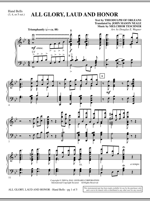 Douglas E. Wagner All Glory, Laud And Honor - Handbells sheet music notes and chords. Download Printable PDF.