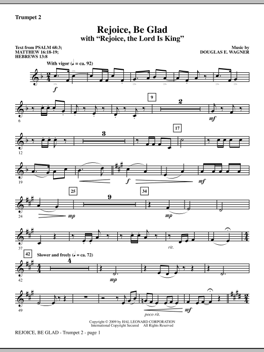 Douglas E. Wagner Rejoice, Be Glad! (with Rejoice, The Lord Is King) - Bb Trumpet 2 sheet music notes and chords. Download Printable PDF.