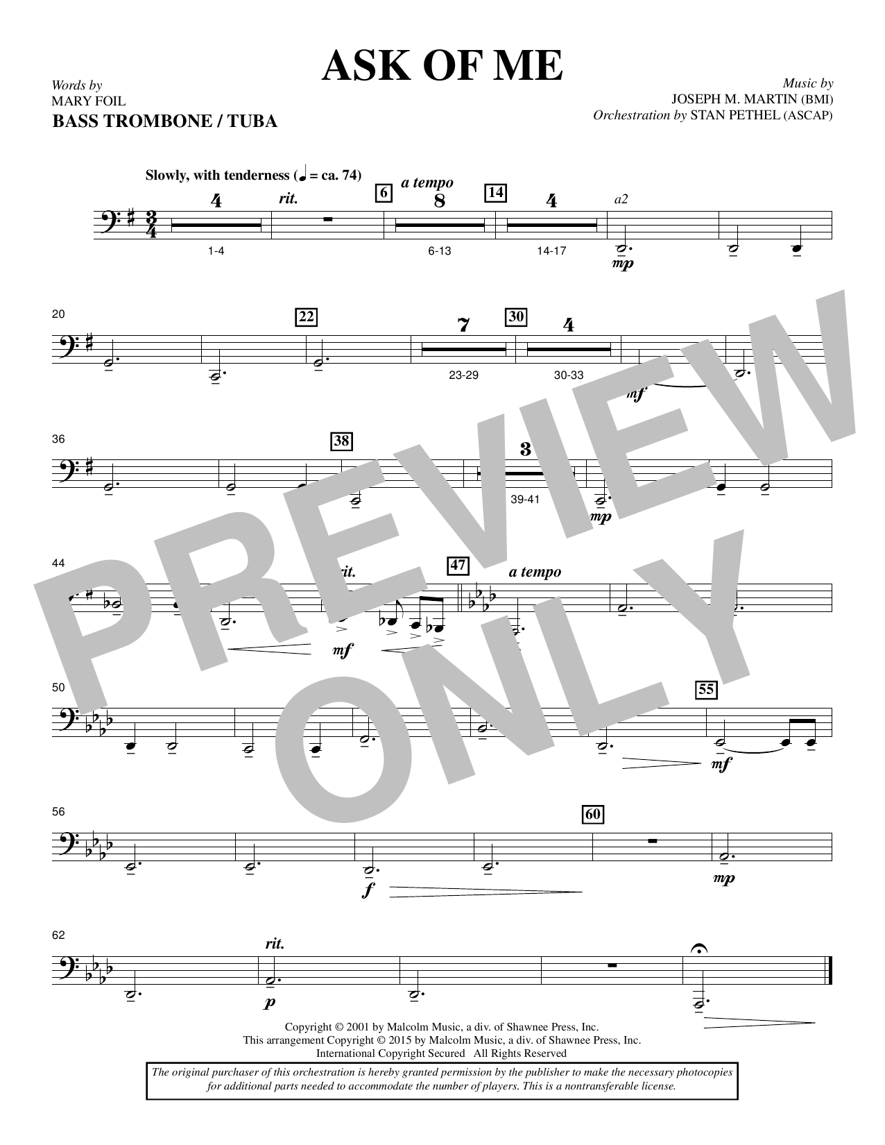 Douglas Nolan Ask of Me - Bass Trombone/Tuba sheet music notes and chords. Download Printable PDF.