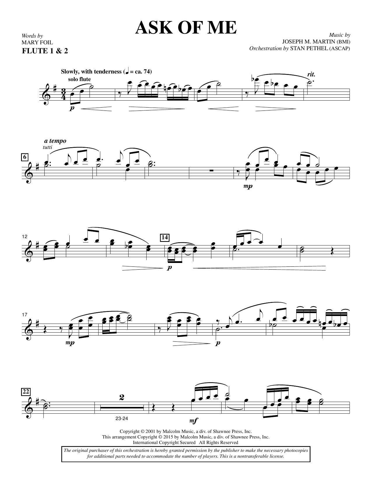 Douglas Nolan Ask of Me - Flute sheet music notes and chords. Download Printable PDF.