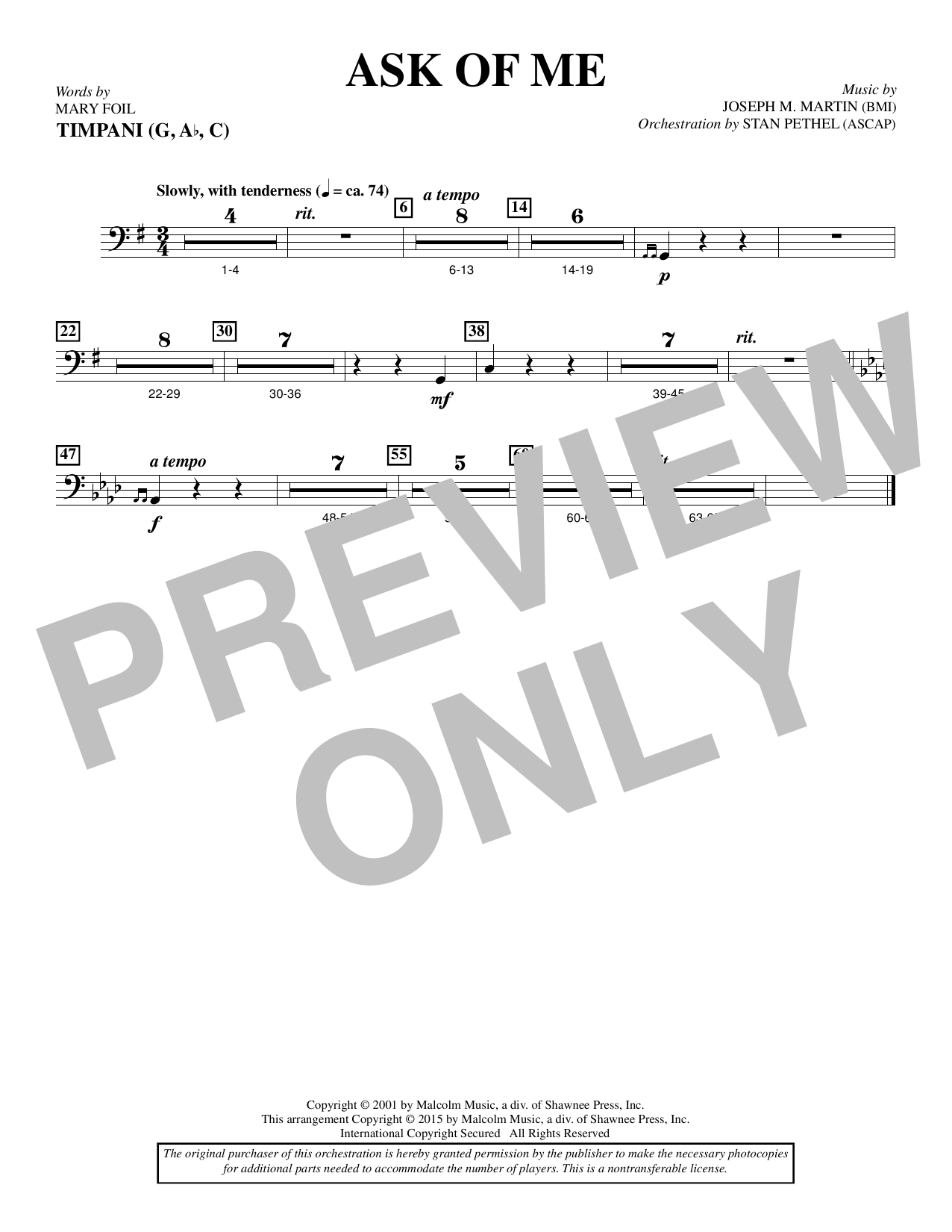 Douglas Nolan Ask of Me - Timpani sheet music notes and chords. Download Printable PDF.