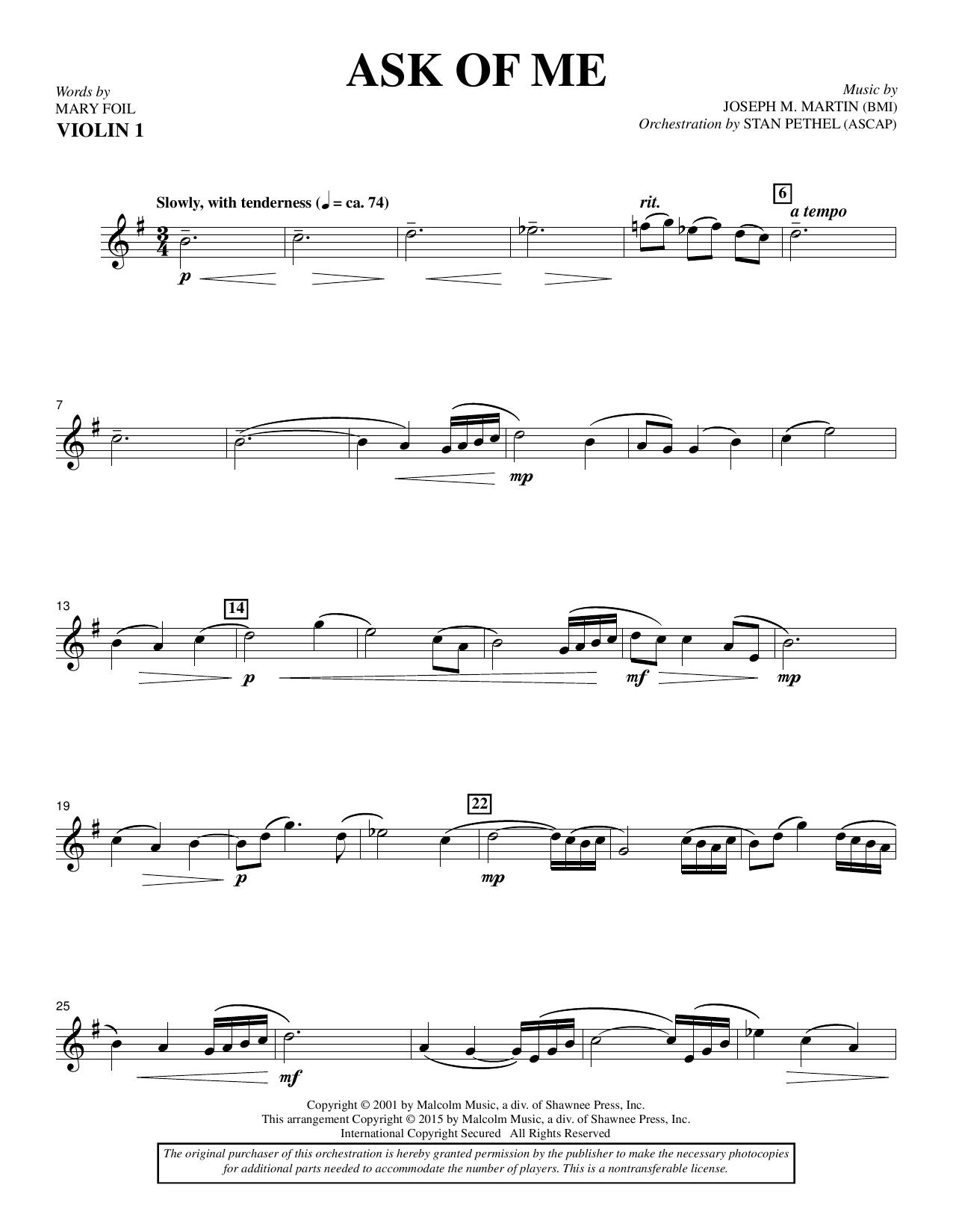 Douglas Nolan Ask of Me - Violin 1 sheet music notes and chords. Download Printable PDF.