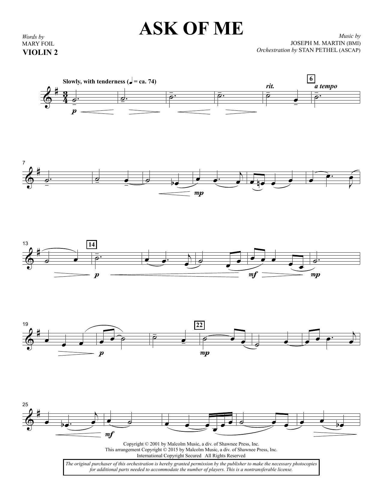 Douglas Nolan Ask of Me - Violin 2 sheet music notes and chords. Download Printable PDF.