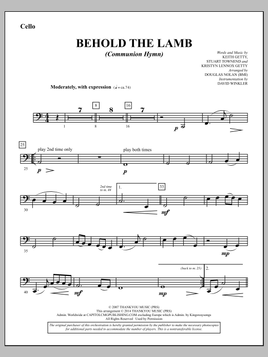 Douglas Nolan Behold the Lamb (Communion Hymn) - Cello sheet music notes and chords. Download Printable PDF.