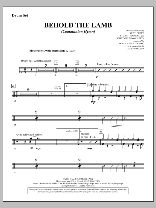 Douglas Nolan Behold the Lamb (Communion Hymn) - Drums sheet music notes and chords. Download Printable PDF.