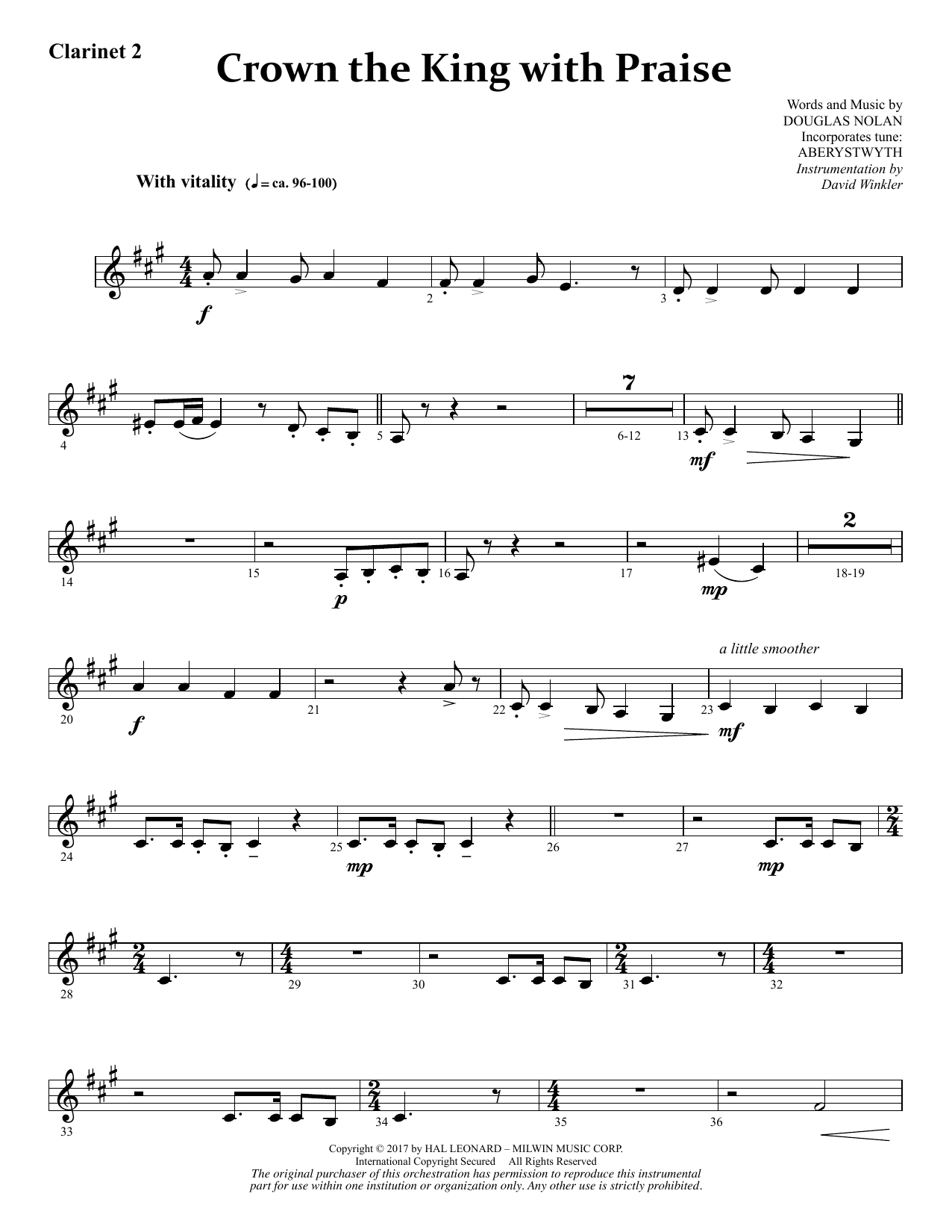 Douglas Nolan Crown the King with Praise - Bb Clarinet 2 sheet music notes and chords. Download Printable PDF.